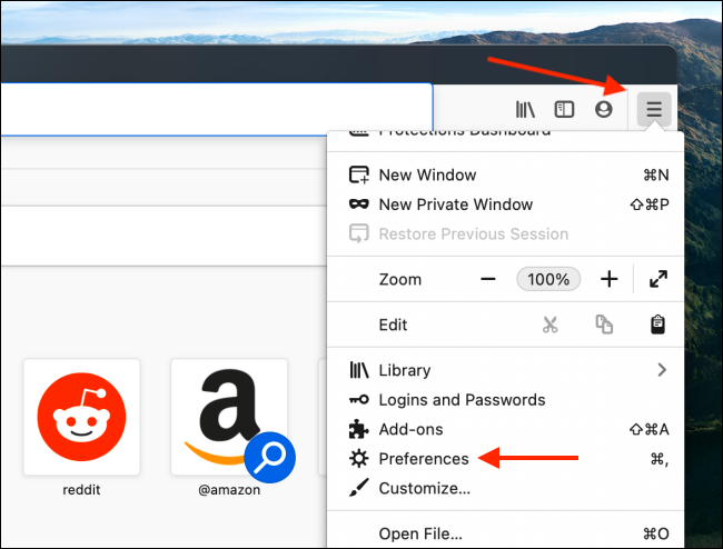 Open Preferences from Firefox Menu