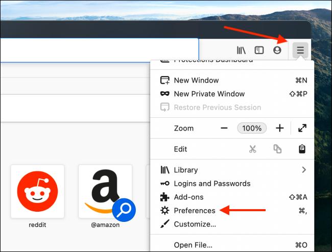Mở Tùy chọn từ Trình đơn Firefox
