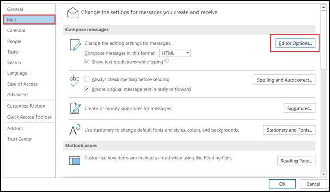 Selecione Mail e clique em Opções do Editor