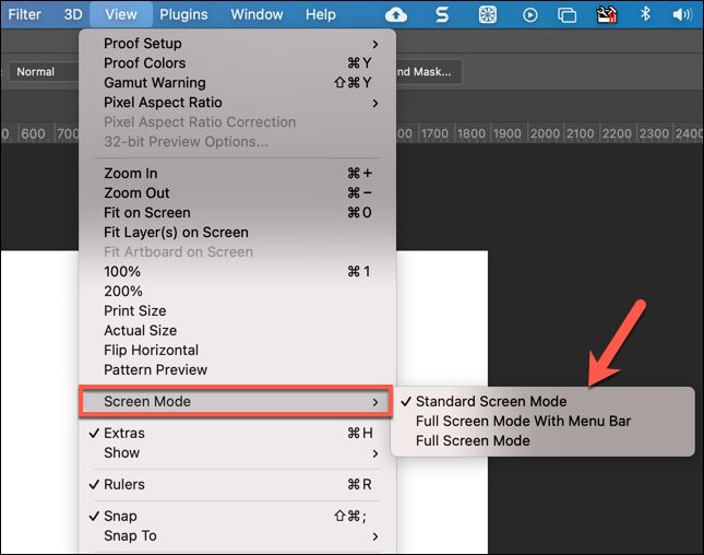To change screen modes in Photoshop, press View > Screen Mode and select an alternative.