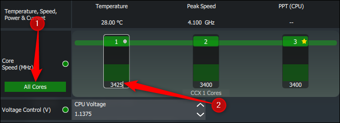 Two numbered arrows pointing at the All Cores button, and the text entry box for changing core speeds in Ryzen Master.