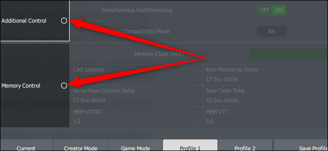 Two red arrows pointing to menu items in the left rail of Ryzen Master.