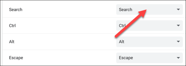 click the drop-down menu for the search key