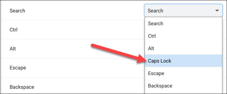 válassza a Caps Lock lehetőséget