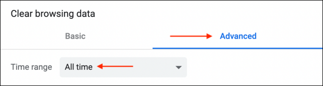 Select All Time from Clear Browsing Data