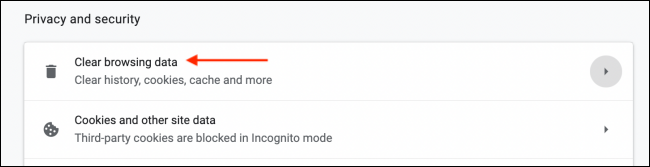 Select Clear Browsing Data from Chrome Settings
