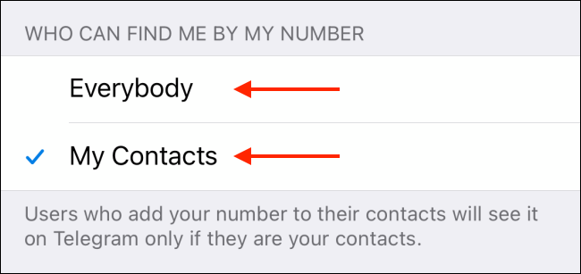 Select My Contacts or Everybody