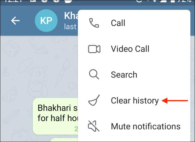 Tap Clear History From Telegram Menu