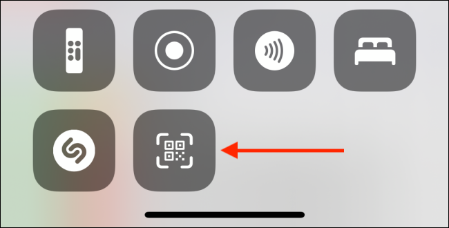 Tap Code Scanner Shortcut from Control Center