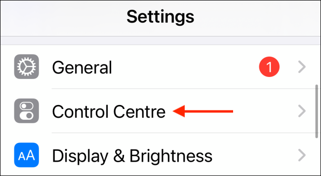 Choose Control Center in Settings
