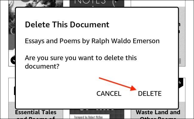 Tap Delete From Kindle Popup