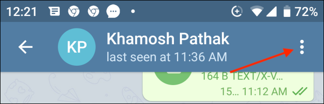 Tap Menu from Telegram Conversation on Android
