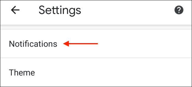 Tap Notifications from Chrome Settings