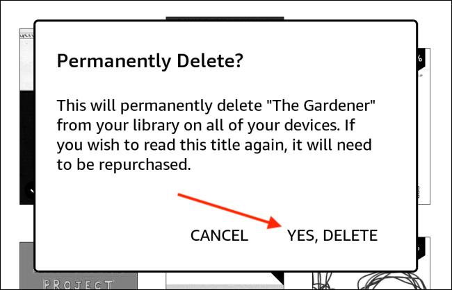 Tap Yes Delete from Kindle Popup
