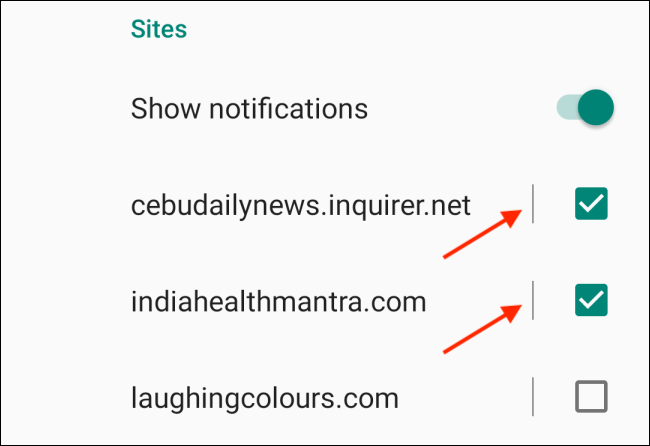 Uncheck Websites to Disable Notifications