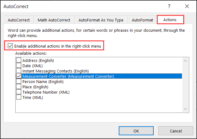 Check boxes for Enable Actions and Measurement Converter