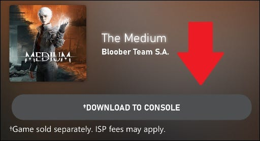 xbox app page for the medium with download button