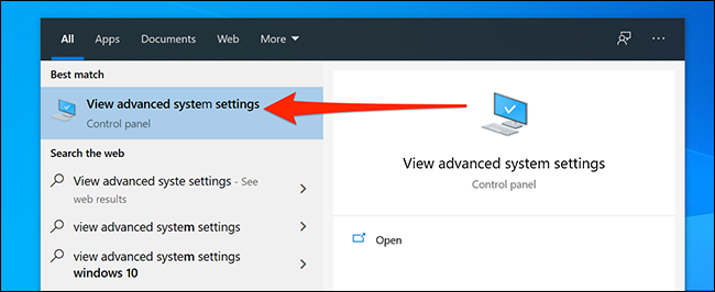 Откройте расширенные системные настройки Windows.
