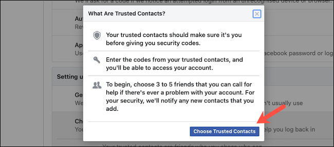 Add trusted contacts on Facebook