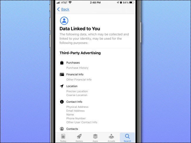 An example of the App Privacy details page in the iPhone App Store.