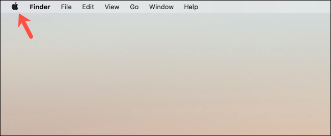 Click Apple logo on Mac desktop
