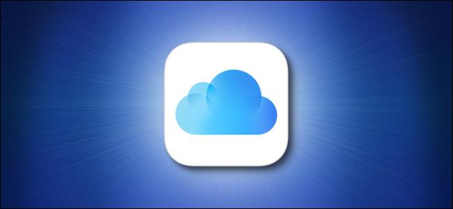 Логотип Apple iCloud на синем фоне