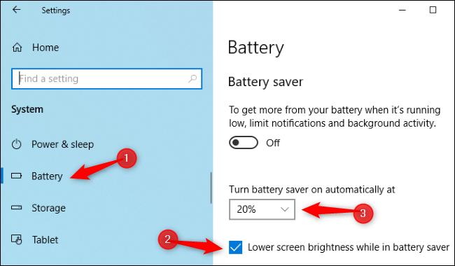 Battery saver brightness settings in Windows 10's Settings app.