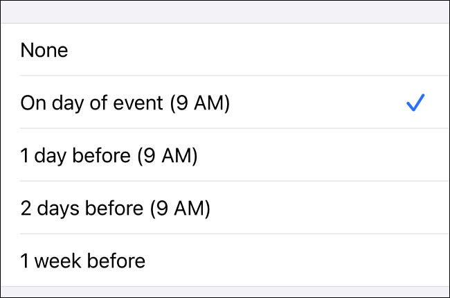 In iPhone Settings, choose a time to be notified of birthdays from the list.