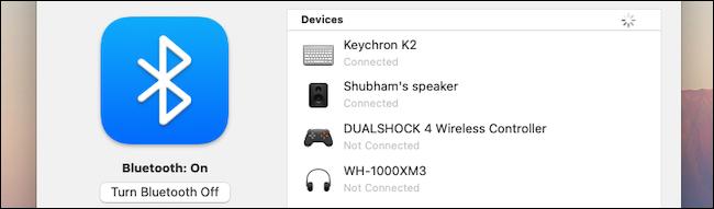 Bluetooth settings on macOS