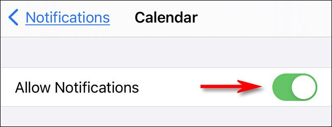 In iPhone settings, turn Calendar notifications on.