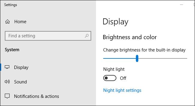 The screen brightness slider in Windows 10's Settings app.