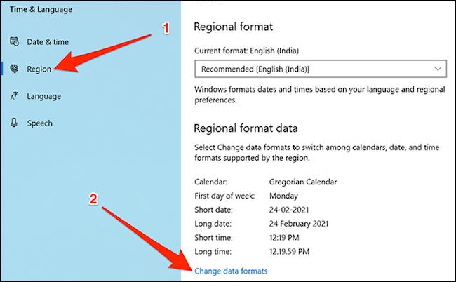 Change data formats in Windows 10