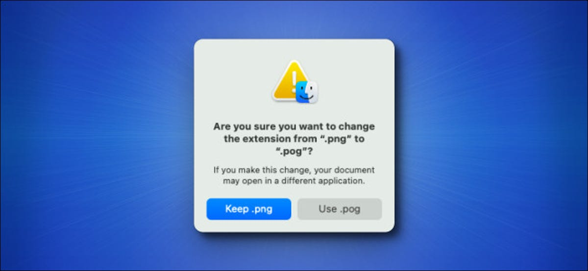 The Mac Big Sur file extension change warning window on a blue background.