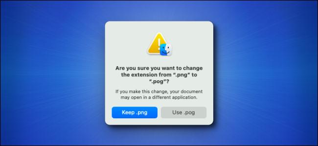 A janela de aviso de alteração da extensão do arquivo Mac Big Sur em um fundo azul.
