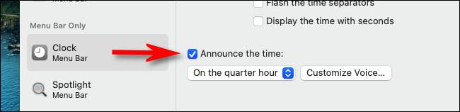 """В """"Часы"""" предпочтения, поставьте галочку рядом """"Объявите время."""""""