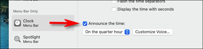 """In """"Clock"""" preferences, put a check mark beside """"Announce the time."""""""
