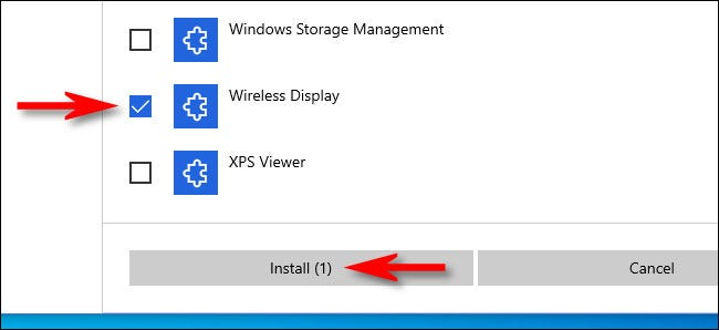 """Place a check mark beside """"Wireless Display,"""" then click """"Install."""""""