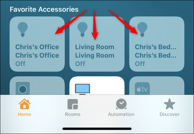 Long-press a light tile in the Home app.