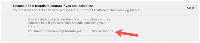 Choose trusted contacts on Facebook