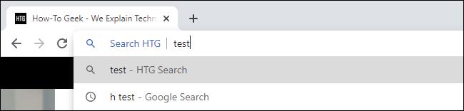 Using a custom search keyword in Google Chrome.