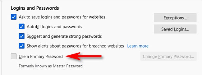 """Click """"Use a Primary Password."""""""