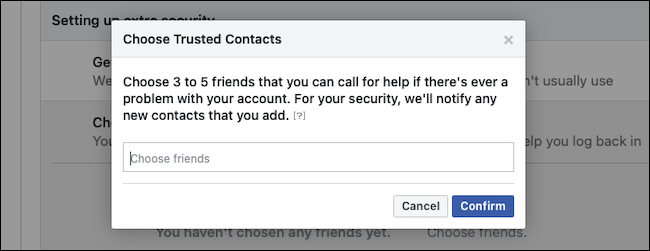 Confirm Facebook trusted contacts