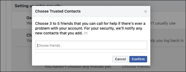 Potwierdź zaufane kontakty z Facebooka