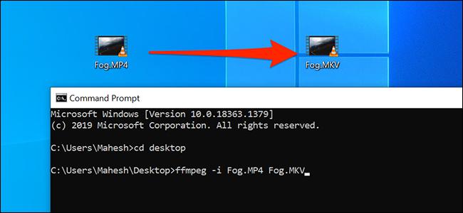 Конвертируйте медиафайлы с помощью командной строки в Windows 10