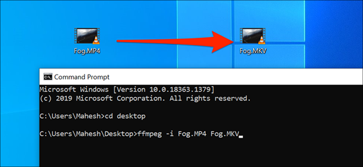 Convert media files using the Command Prompt on Windows 10