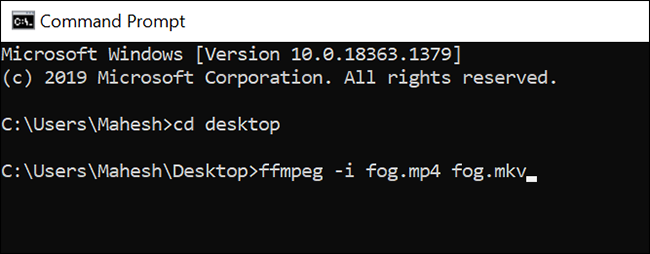 Convert a video using the Command Prompt