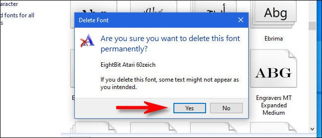 """Click """"Yes"""" to confirm font deletion."""