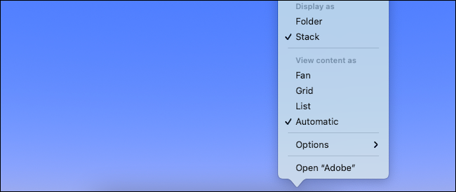 Change display setting for folder in Mac dock