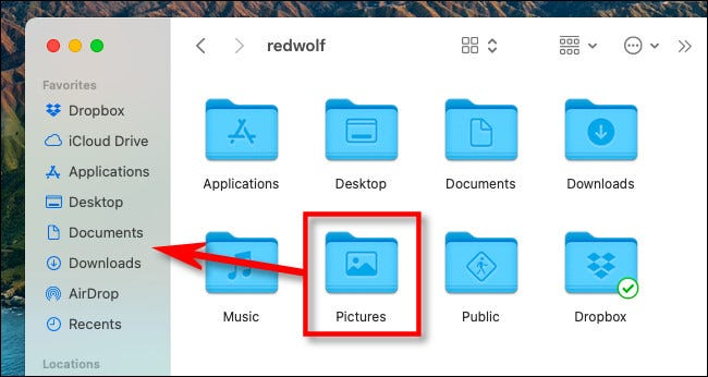 """On a Mac, drag your """"Pictures"""" folder icon into the sidebar."""