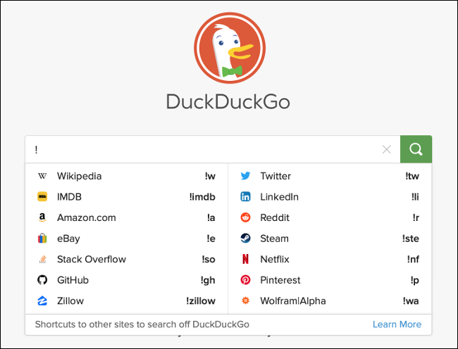 Finding Bangs in DuckDuckGo